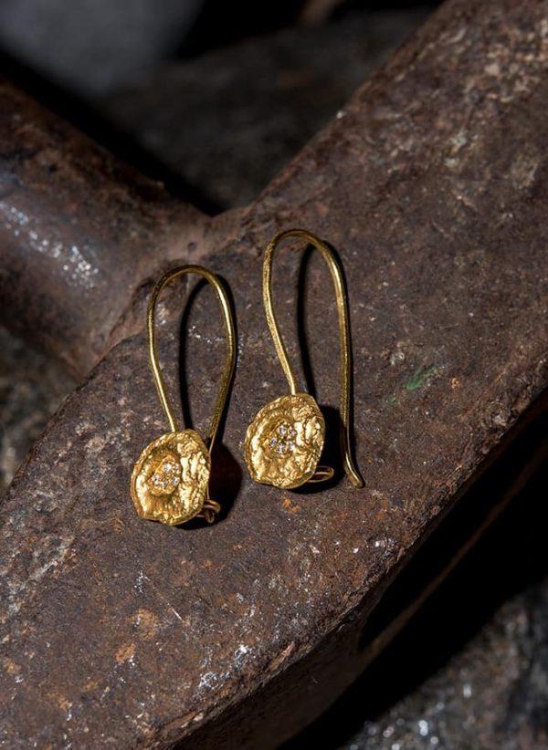 זוג עגיל זהב 18k