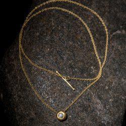 שרשרת עם לחמניה זהב 22k משובצת יהלום 10 נקודות