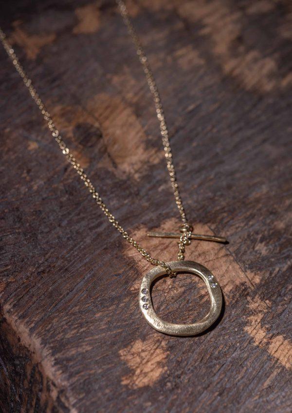 שרשרת טבעת עגולה זהב 18k