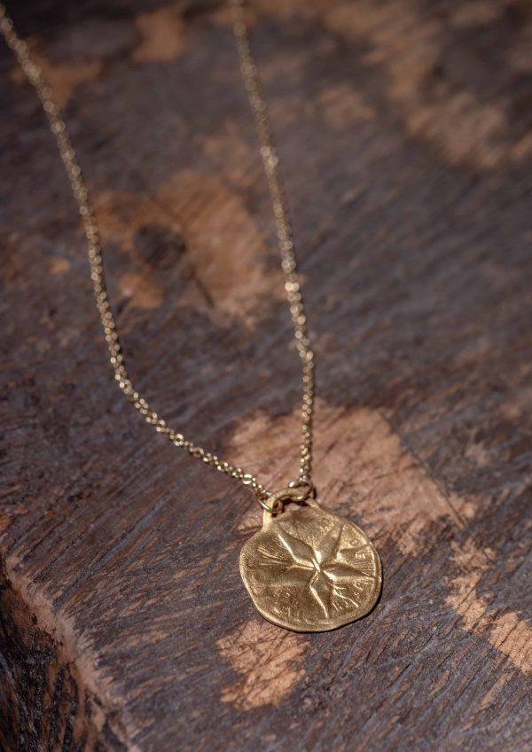 שרשרת זהב עם טבעת אובלית בזהב 22k