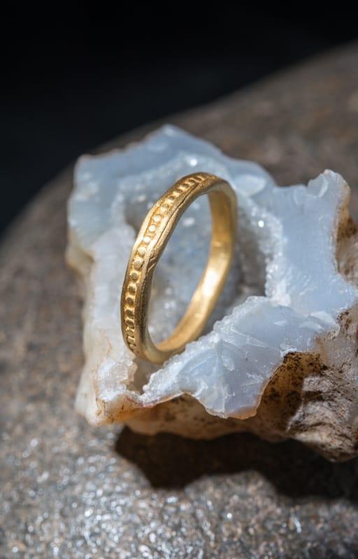 טבעת כדורים זהב 22k