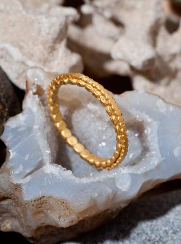 טבעת כדורים שתי שכבות זהב 22k