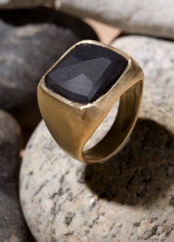 טבעת חותם זהב 14k אוניקס