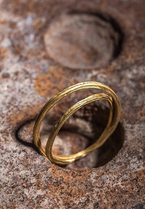 טבעת כפולה זהב 18k