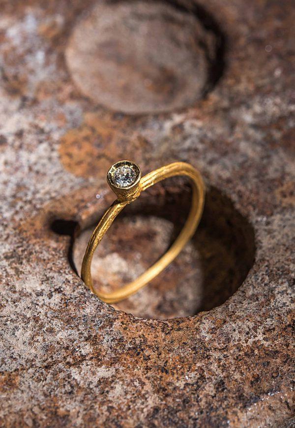 טבעת קונית זהב 22k