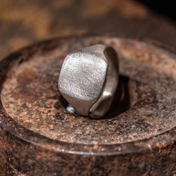 טבעת כסף חותם מלבן רוחבי